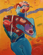 Hand Signed Nude Fan Dancer By Peter Max Framed Retail $7.95K