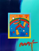 Hand Signed Cosmic Jumper (Overpaint) By Peter Max Retail $4.2K
