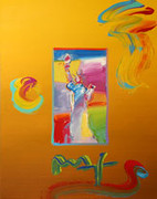 Hand Signed Statue of Liberty (Overpaint) By Peter Max Retail 2.95K