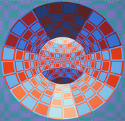 Hand Signed Untitled 2 By Victor Vasarely