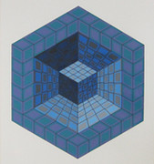 Hand Signed Untitled By Victor Vasarely
