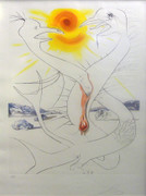 Signed The Caduseus of Mars Nourished by the Ball of Fire of Jupiter By Salvador Dali Framed Retail $11K