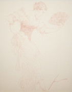 Hand Signed Spanish Dancer (Drawing Sepia) By Pino