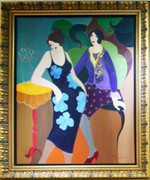 Hand Signed Floral Dress by Itzchak Tarkay Framed Retail $30K