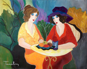 Hand Signed Chatting Ladies by Itzchak Tarkay Retail $24K