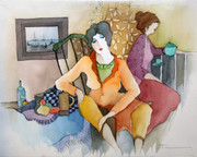 Hand Signed Quiet At Tea Time by Itzchak Tarkay Retail $6.2K