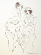 Hand Signed Women Waiting Together by Itzchak Tarkay Retail $2.6K