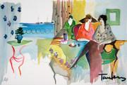 Hand Signed Seaside Cafe by Itzchak Tarkay Retail $975
