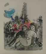 Les Amants De La Tour Eiffel By Marc Chagall Retail $3.5K