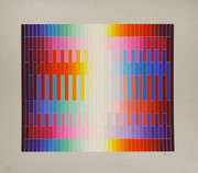 Hand Signed Magic Rainbow II (On Silver) By Yaacov Agam