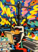 Hand Signed If Time Were My Friend By Mark Kostabi Retail $10.4K