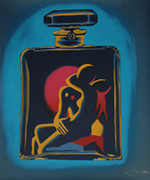 Signed Kostabi #5(Aqua) By Mark Kostabi Retail $5K