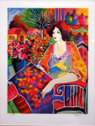 Hand Signed Lady With Flower By Patricia Govezensky