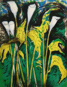 Hand Signed Calla Lilies, Verona III By Jim Dine Retail $9K