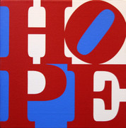 Hand Signed Hope (B/R/W) By Robert Indiana