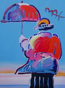 Umbrella Man, Original Mixed Media Painting, Peter Max - SIGNED w/ COA (LARGE!)