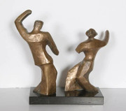 Dancing Couple Bronze Sculpture - Pearl Amsel