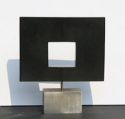 Dan Content Abstract Square African Wonder Stone Sculpture