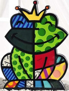 COLORFUL ROMERO BRITTO FROG GARDEN SCULPTURE