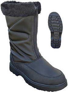Women's Black Front Zip Snow Boots