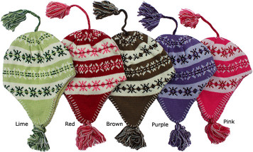 Knit winter beanies for girls ages 4 to 7.