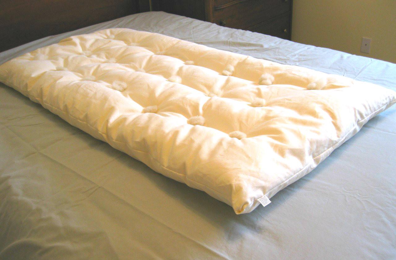 Organic Wool Crib Topper With Organic Hemp Cotton Encasement
