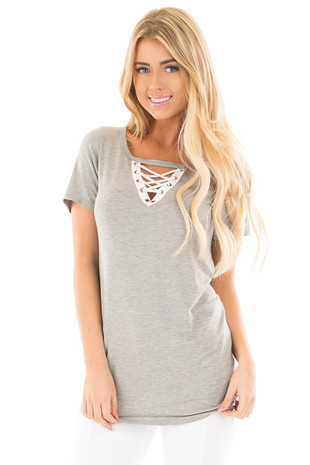 Heather Grey Criss Cross Cut Out V-Neck Cap Sleeve Top front close up