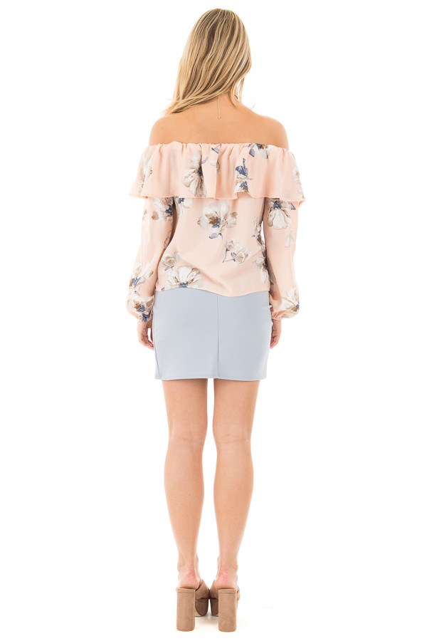 Blush Floral Off the Shoulder Ruffle Blouse back full body