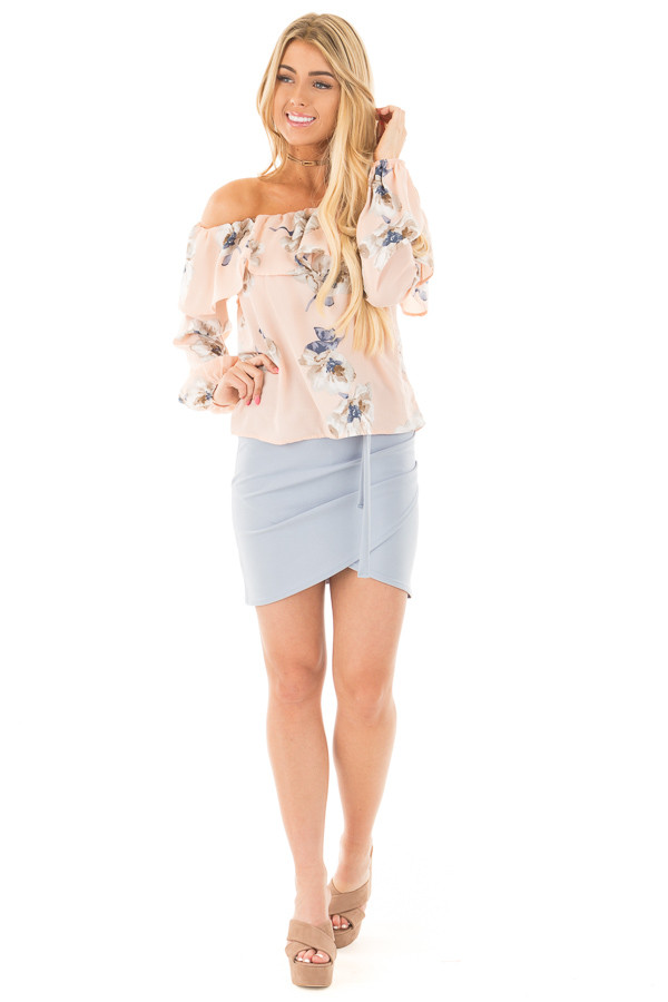 Blush Floral Off the Shoulder Ruffle Blouse front full body