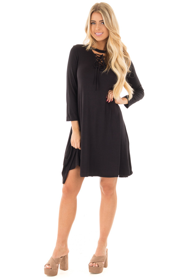Black Swing Dress with Criss Cross Mock Neck front full body