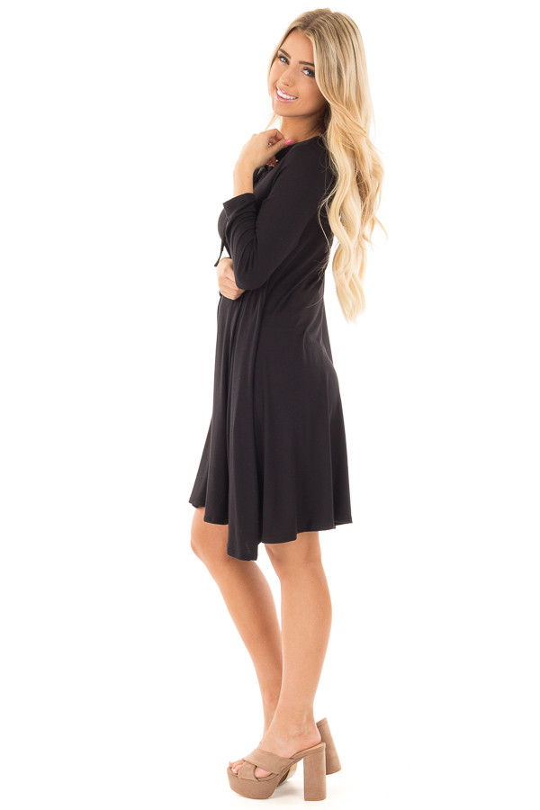 Black Swing Dress with Criss Cross Mock Neck side full body