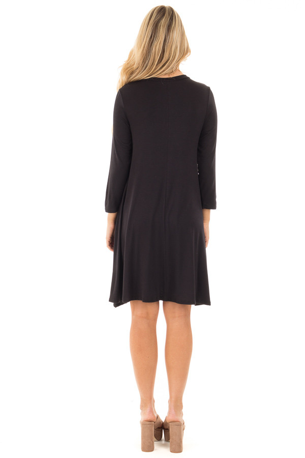 Black Swing Dress with Criss Cross Mock Neck back full body