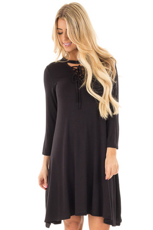 Black Swing Dress with Criss Cross Mock Neck front close up