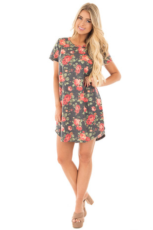Charcoal and Rose Floral Print Tunic Dress front full body