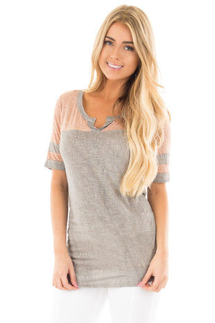 Ash Grey Color Block Varsity Stripe Top with Front V Slit front close up