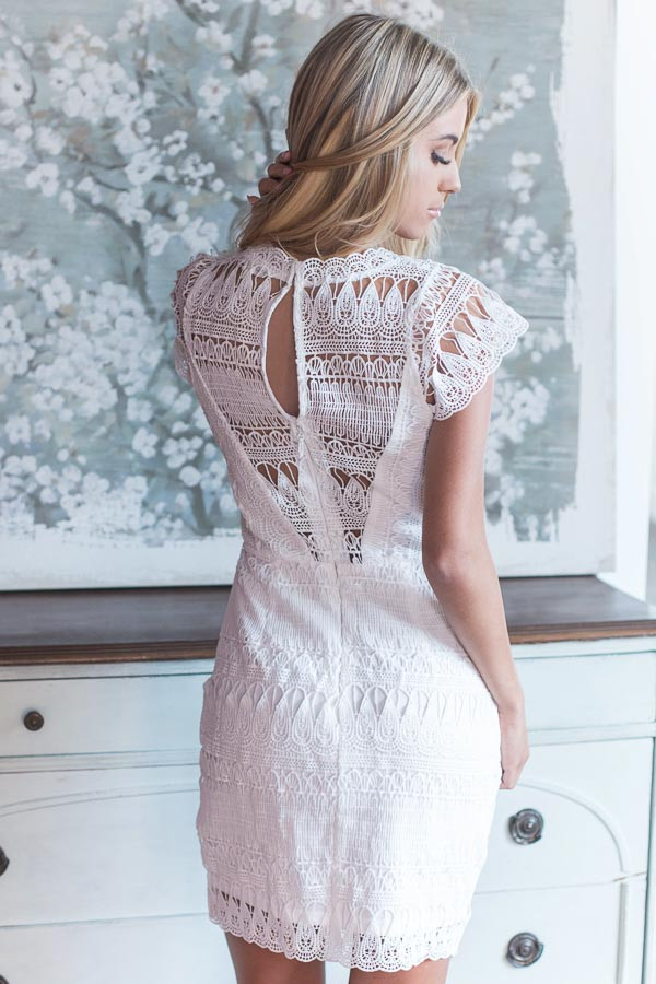 White Crochet Cap Sleeve Dress with Sheer Yoke Detail back close up