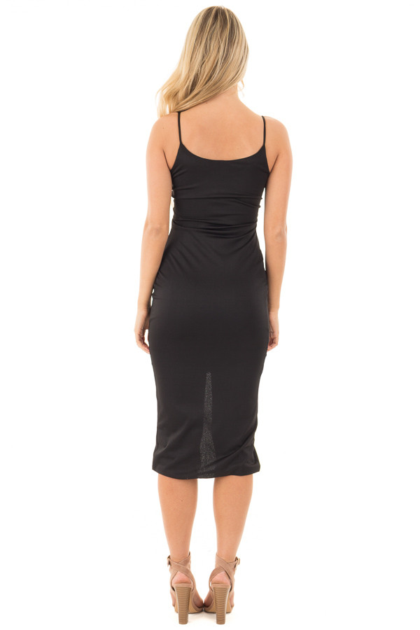 Black Form Fitting Spaghetti Strap Dress with Front Slit back full body