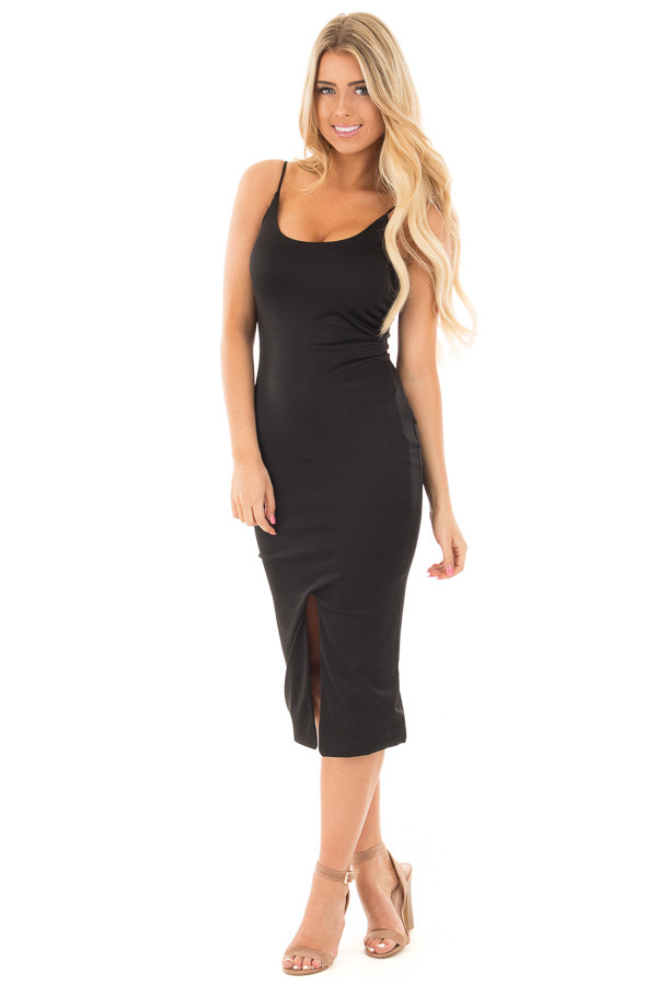 Black Form Fitting Spaghetti Strap Dress with Front Slit front full body