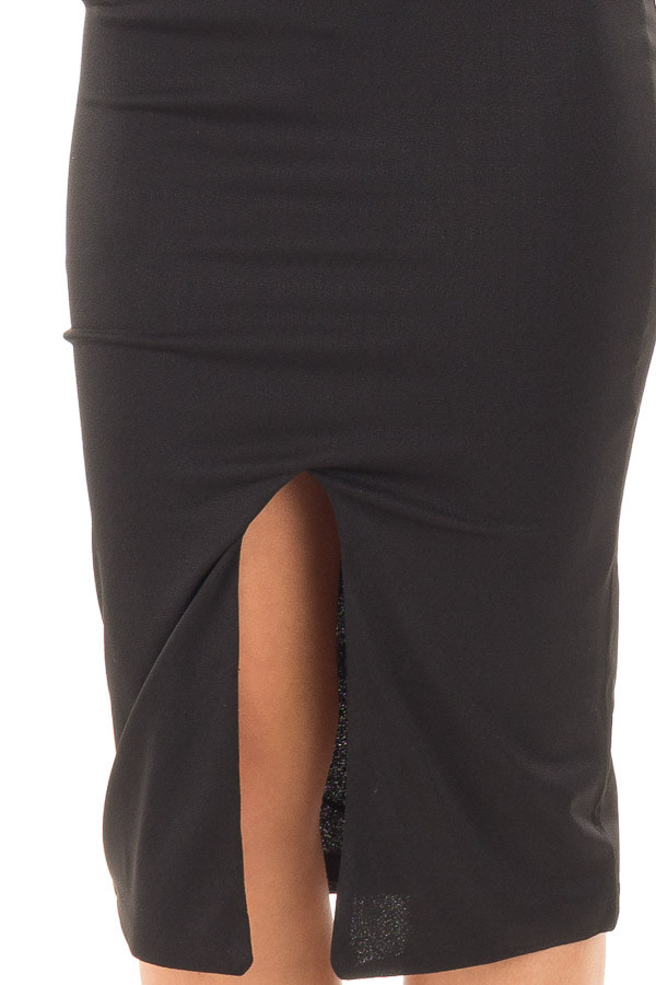 Black Form Fitting Spaghetti Strap Dress with Front Slit detail