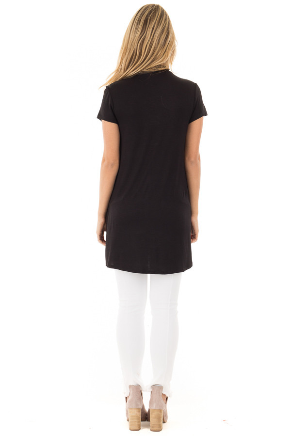 Black Keyhole Mock Neck Dress with Overlap Detail back full body