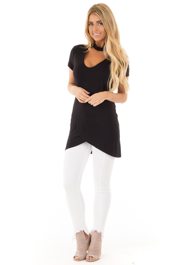 Black Keyhole Mock Neck Dress with Overlap Detail front full body