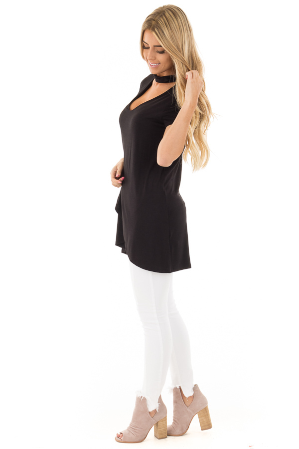 Black Keyhole Mock Neck Dress with Overlap Detail side full body
