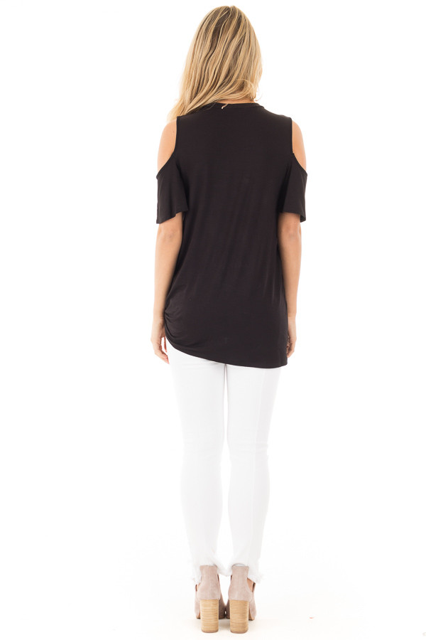 Black Cold Shoulder Top with Twist Knot Detail back full body