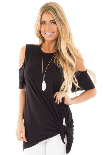 Black Cold Shoulder Top with Twist Knot Detail front close up