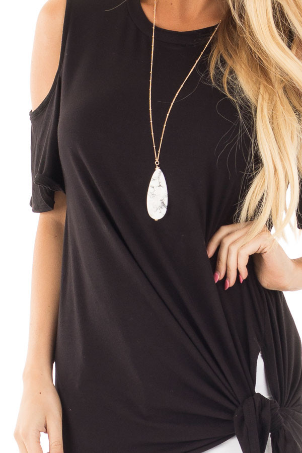 Black Cold Shoulder Top with Twist Knot Detail detail