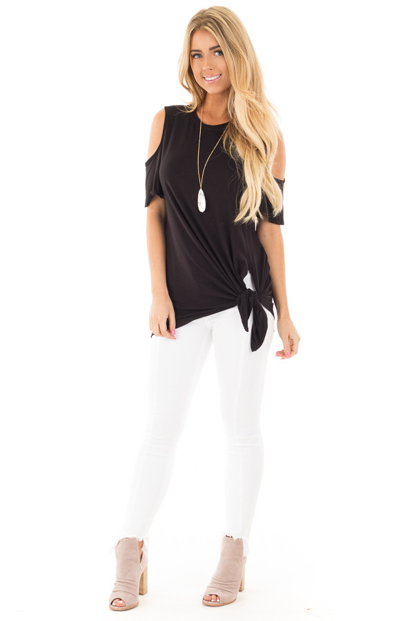 Black Cold Shoulder Top with Twist Knot Detail front full body