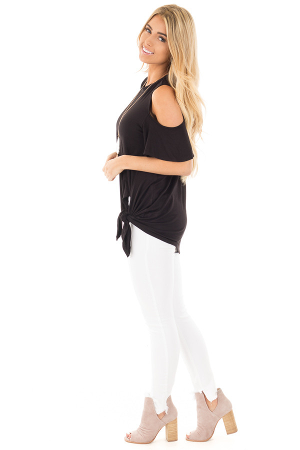 Black Cold Shoulder Top with Twist Knot Detail side full body