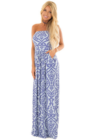 Slate Blue Damask Print Strapless Maxi Dress front full body