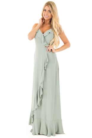 Sage Sleeveless Ruffle Maxi Dress with Overlap Detail front full body