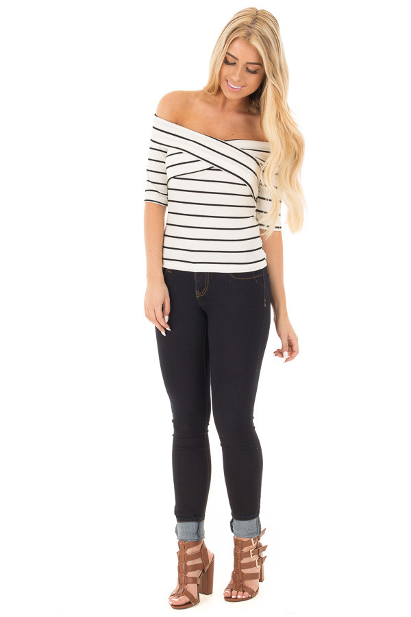 Ivory 3/4 Sleeve Striped Criss Cross Fold Over Top front full body